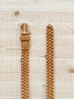Load image into Gallery viewer, Rosamonde Braided Belt (Tan/Gold)