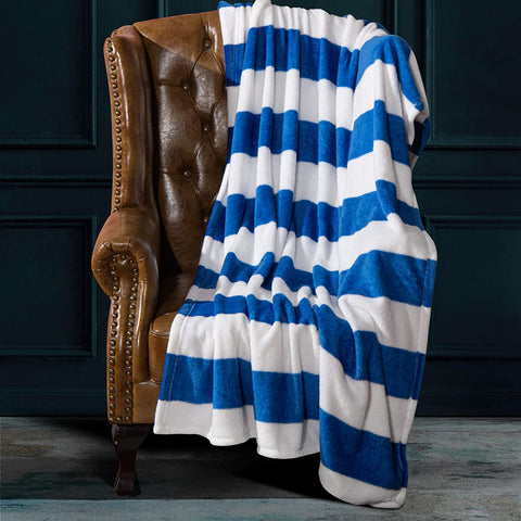 Blue and White Striped Printed Bed Blanket