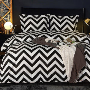 NTBAY Chevron Microfiber Duvet Cover Set with Pillow Shams, Ultra Soft Zipper Closure Black and White Bedding Set - NTBAY