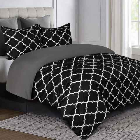 NTBAY Microfiber Duvet Cover Set Black and White Morocco Tiles Printed, 3 Pieces Ultra Soft Zippered Closure Comforter Cover Set