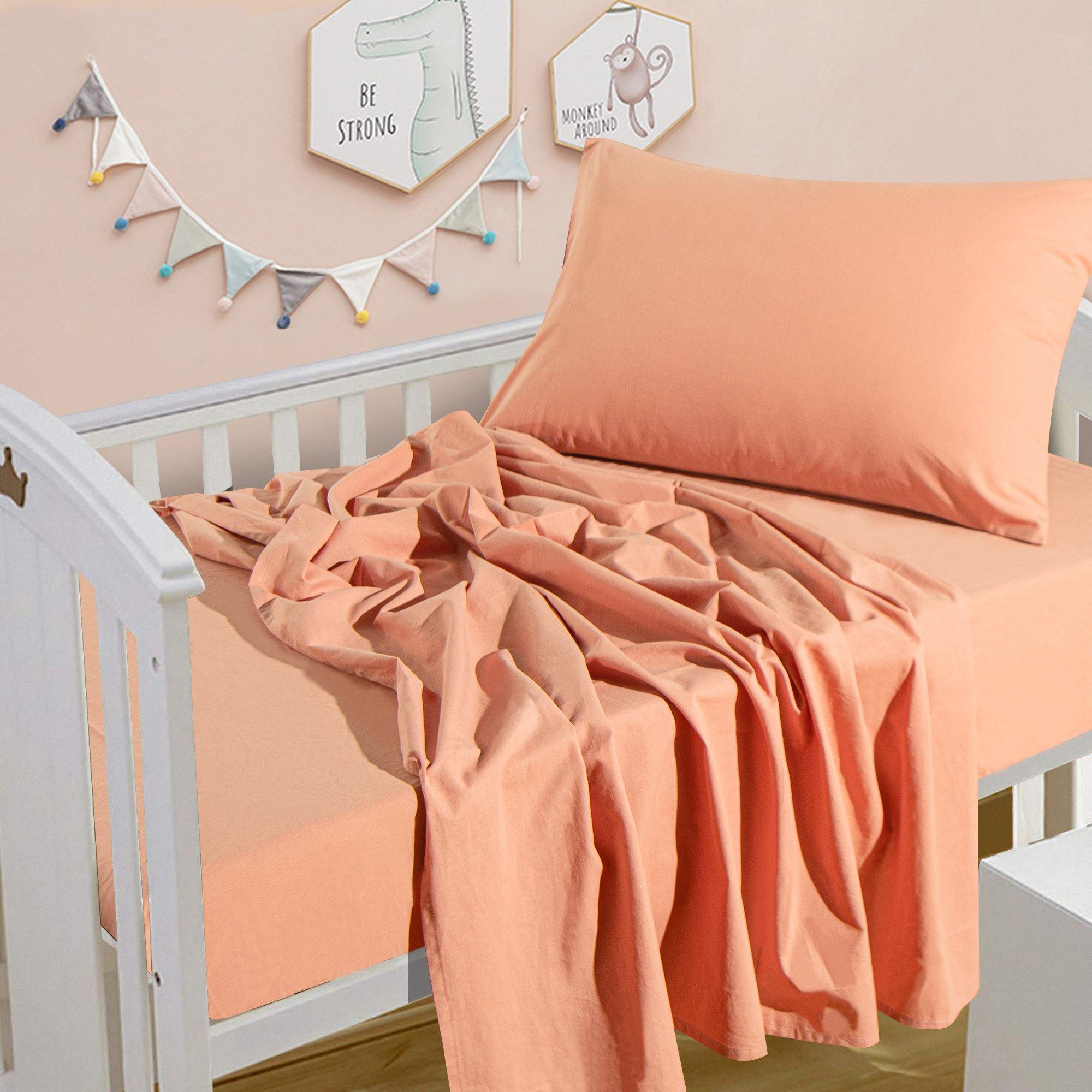 NTBAY Solid Color 3-Piece Washed Cotton Toddler Sheet Set