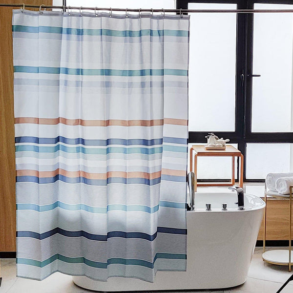 Multicolor Stripe Fabric Shower Curtain, Water Repellent Decorative Curtain for Bathroom Shower Stall, 72 x 72 Inches