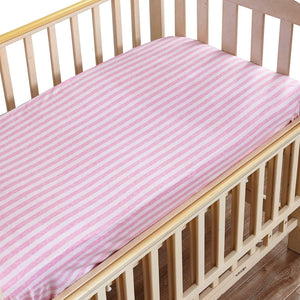 "NTBAY Toddler Fitted Crib Sheet 100% Organic Cotton with Striped Design, Soft and Cozy, 28""x 52""+10"", Pink"