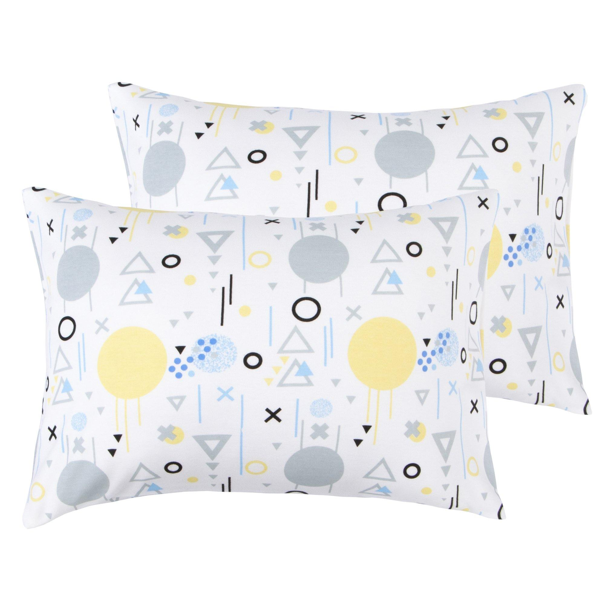 NTBAY 100% Natural Cotton Jersey Knit Toddler Pillowcases Set of 2 - NTBAY