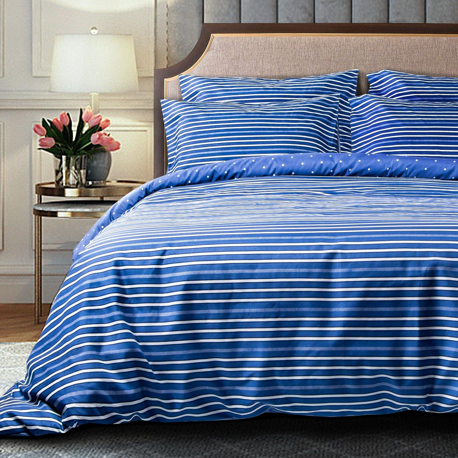 NTBAY 3 Pieces Duvet Cover Set, Brushed Microfiber, Blue and White Striped Printed Reversible Design - NTBAY