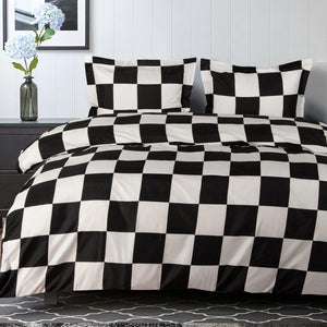 NTBAY Black and White Checkerboard Microfiber Duvet Cover, Ultra Soft Comforter Cover Set