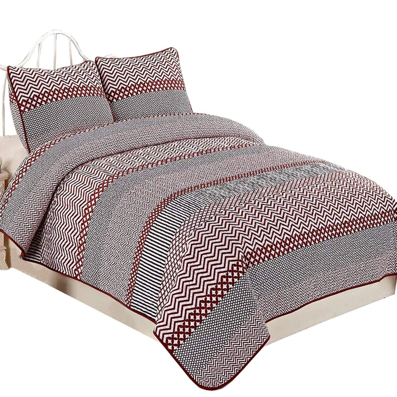 NTBAY 3 Pieces Red Striped Printed Microfiber King Size 86x104 inches Quilt Set (King,Red Striped) - NTBAY