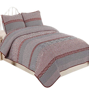 NTBAY 3 Pieces Red Striped Printed Microfiber King Size 86x104 inches Quilt Set (King,Red Striped)
