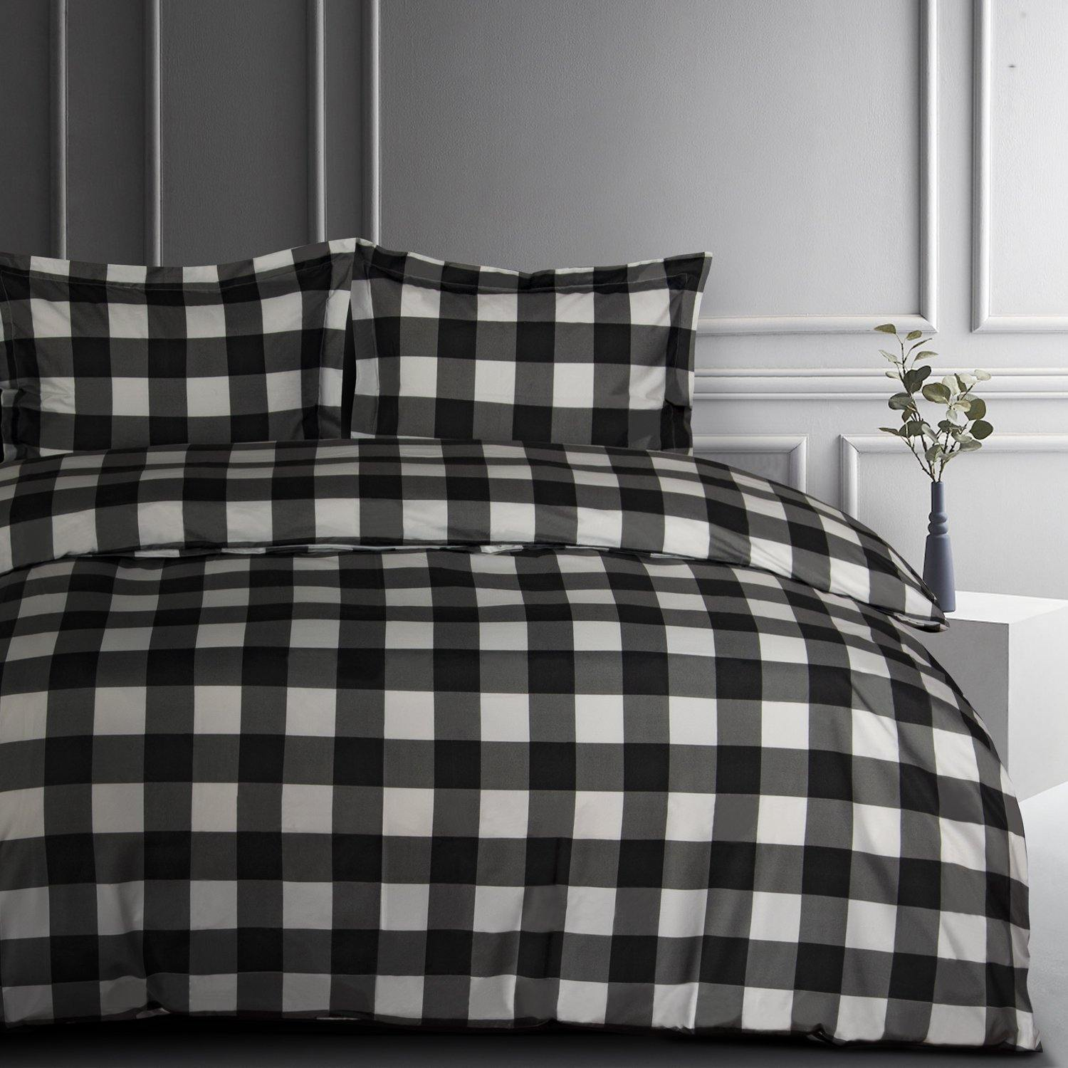 NTBAY Black and White Buffalo Check Microfiber Duvet Cover, Ultra Soft Comforter Cover Set