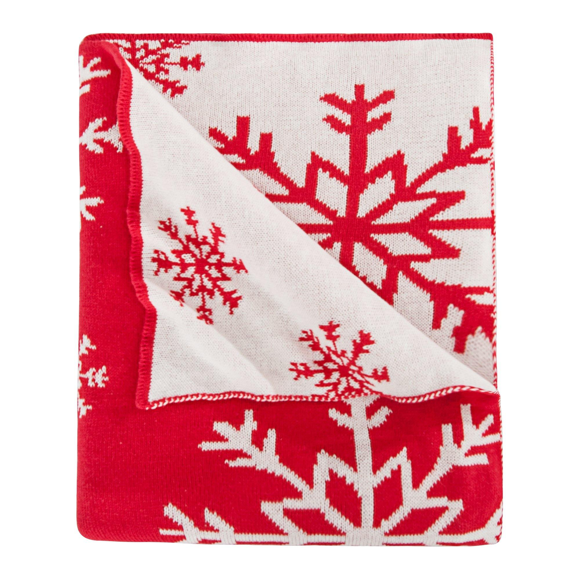 "NTBAY 100% Cotton Cable Knit Throw Blanket Super Soft Warm with Snowflakes Pattern Design(51""x 67"", Red and White)"
