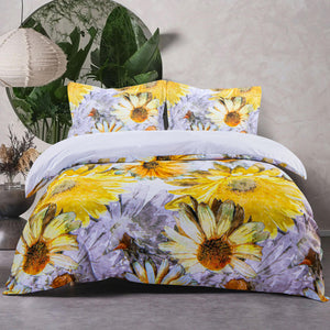 NTBAY 3 Pieces Duvet Cover Set - Sunflowers Printed