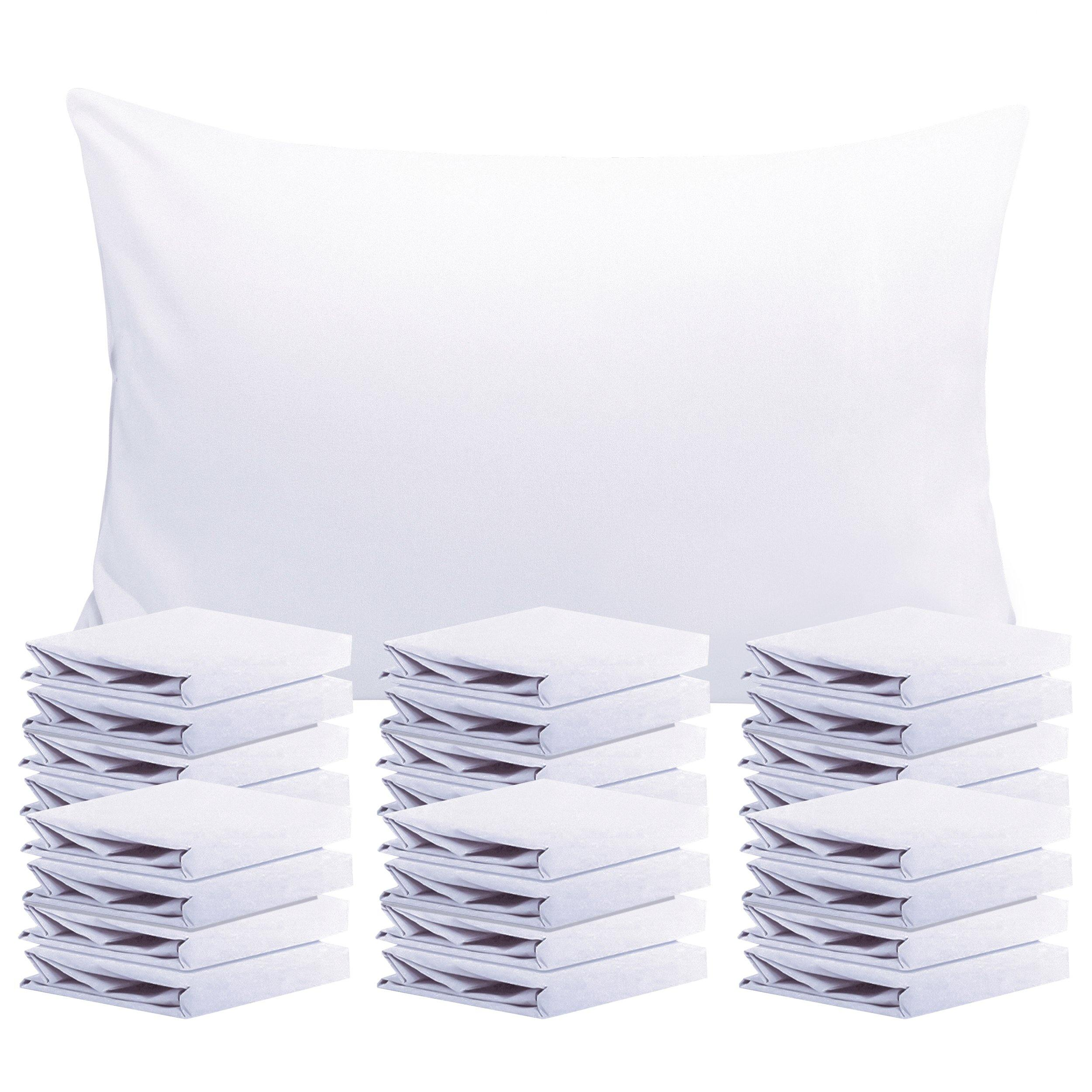 NTBAY 24 Pack Microfiber Queen Pillowcases, Soft and Wrinkle Resistant with Envelope Closure Bedding Pillow Case Set, 20 x 30 Inches - NTBAY