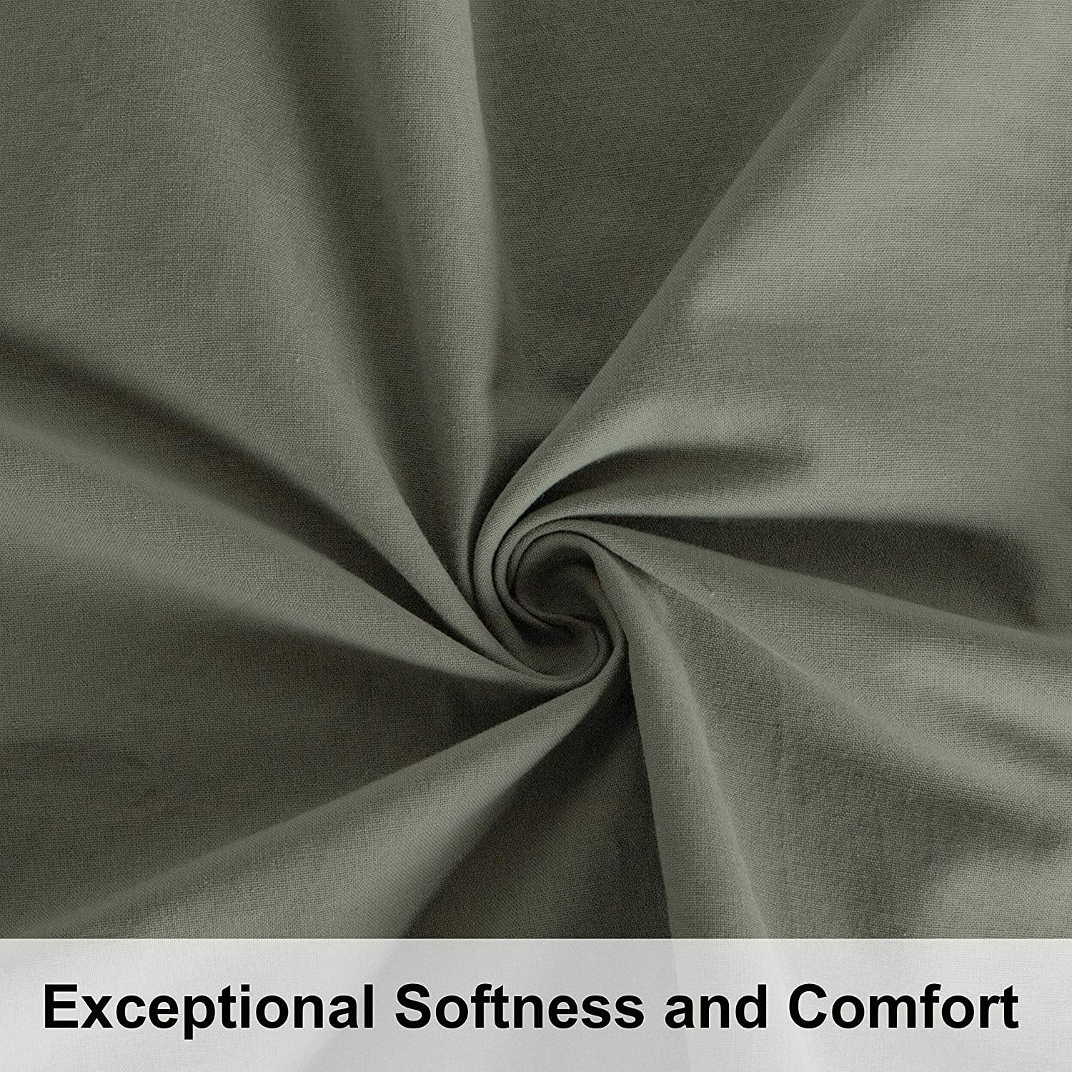 NTBAY Smoke Grey 3 Pieces Washed Cotton Duvet Cover Set