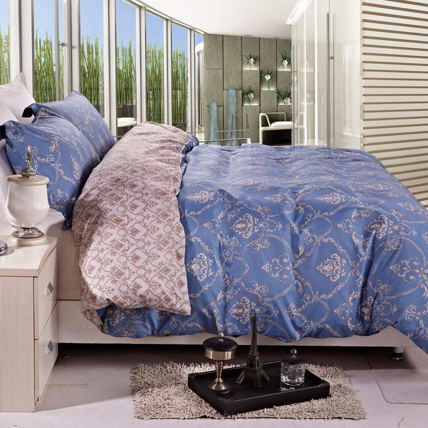 NTBAY 3 Pieces Duvet Cover Set Printed Microfiber Reversible Design - NTBAY