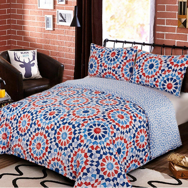 NTBAY 3 Pieces Duvet Cover Set Brushed Microfiber Blue and Red Geometric Printed Reversible Design with Hidden Zipper - NTBAY