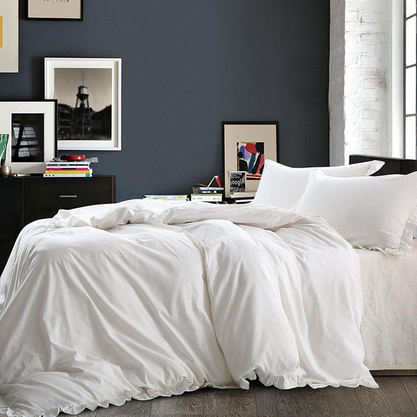 NTBAY Linen 3 Pieces Duvet Cover Set Solid Color with Exquisite Ruffles Design - NTBAY