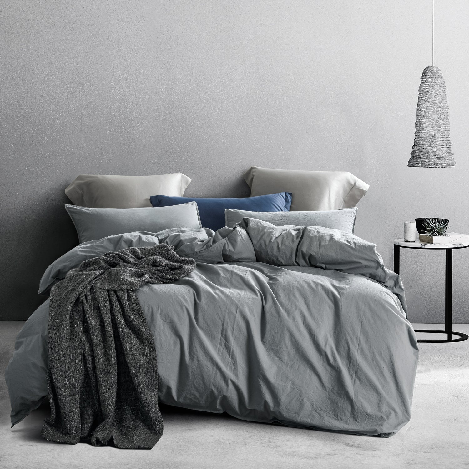 NTBAY 3 Piece Washed Cotton Duvet Cover Set, Grey - NTBAY