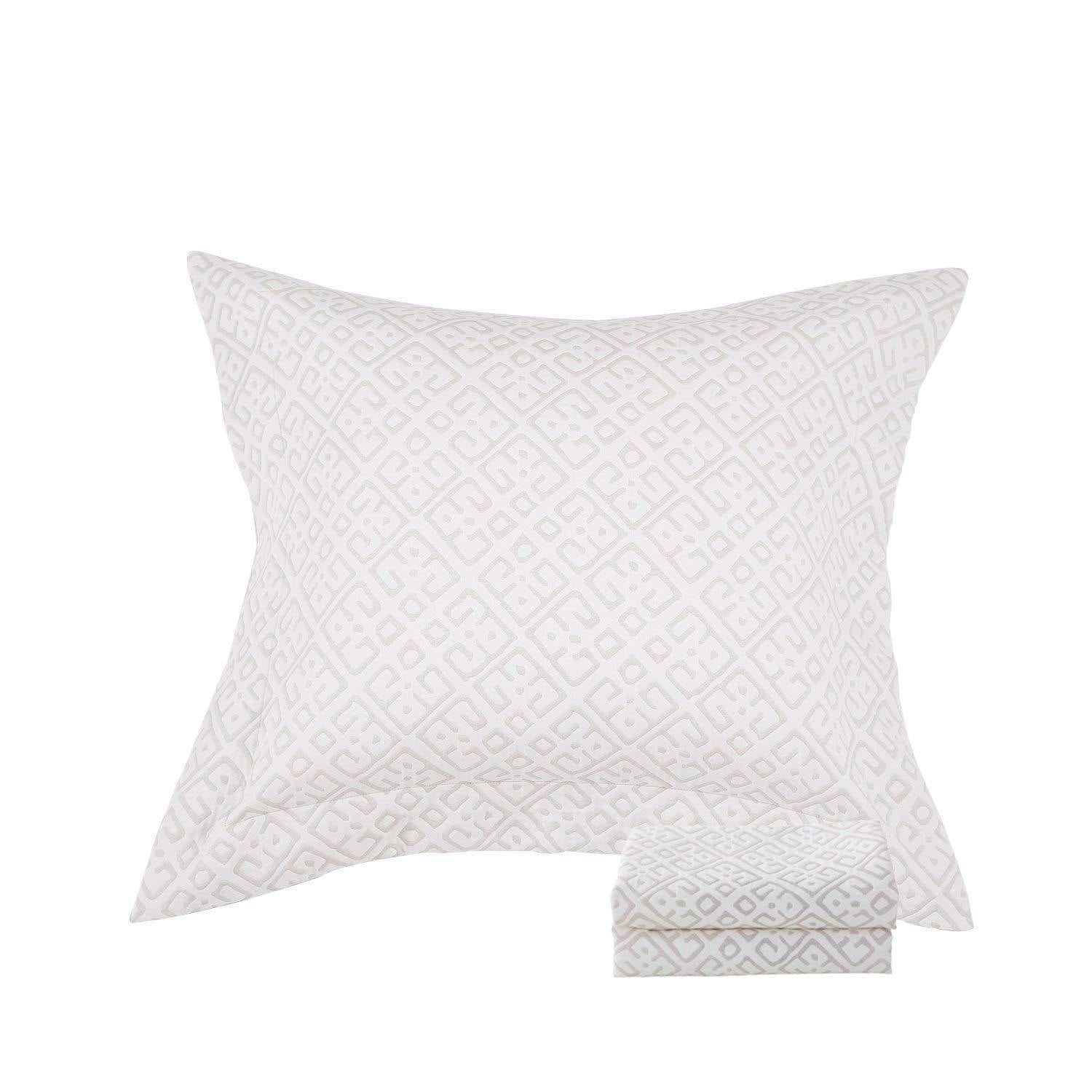 NTBAY 3 Layers Washed Cotton Woven Jacquard Pillow Shams Set of 2 - NTBAY