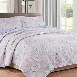 NTBAY 3 Pieces Reversible Coverlet Set Floral Printed Quilt Sets - NTBAY