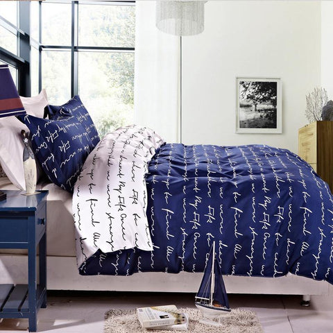 3 Pieces Blue Reversible Printed Duvet Cover Set - NTBAY