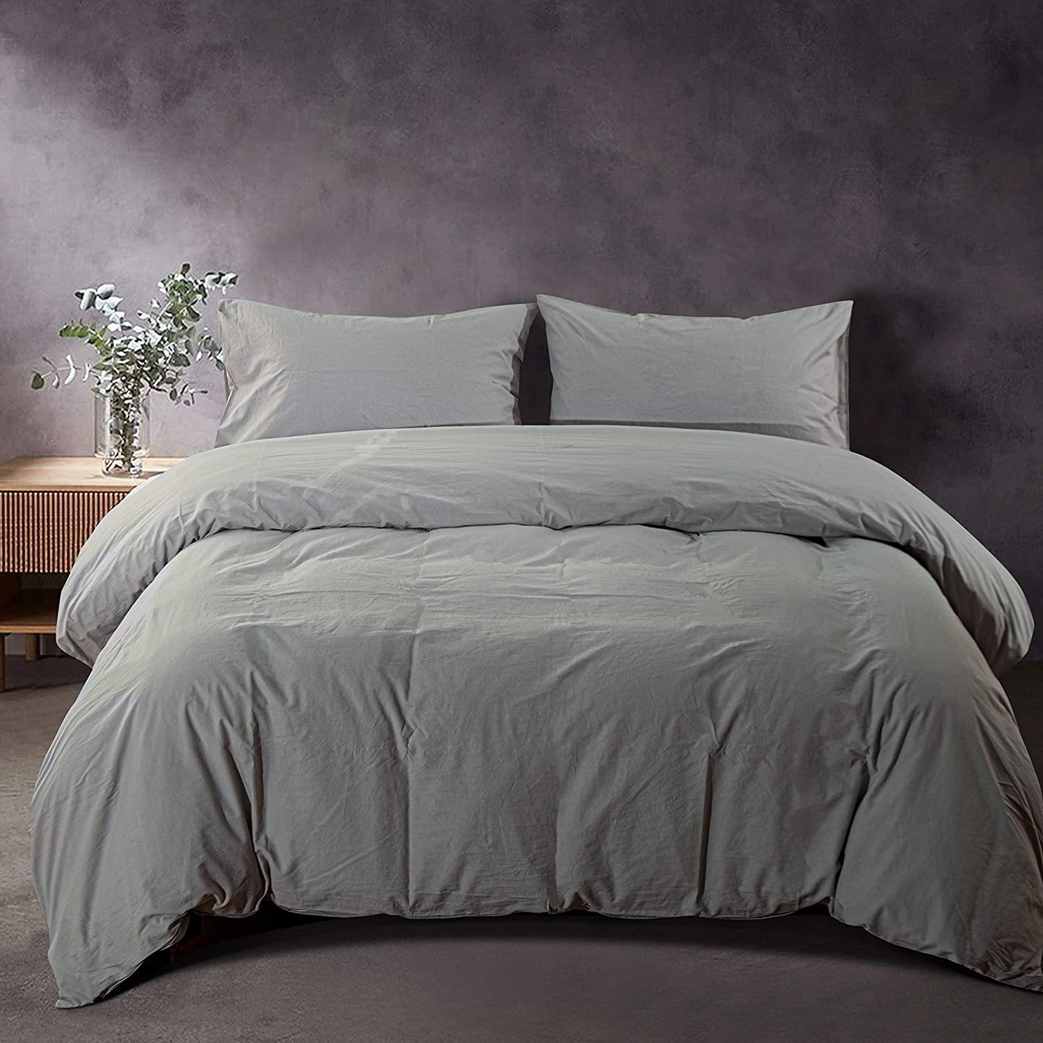 NTBAY Light Grey 3 Pieces Washed Cotton Duvet Cover Set
