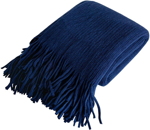NTBAY Acrylic Knitted Throw Blanket, Lightweight and Soft Cozy Decorative Woven Blanket with Tassels for Travel, Couch, Bed, Sofa, 51 x 67 Inches,