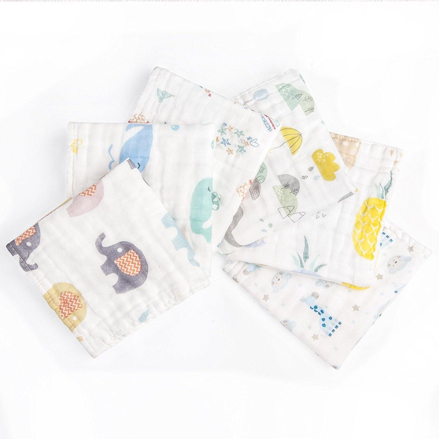 NTBAY 6 Layers of Baby Washcloths Natural Muslin Cotton with Cartoon Printed Design - NTBAY