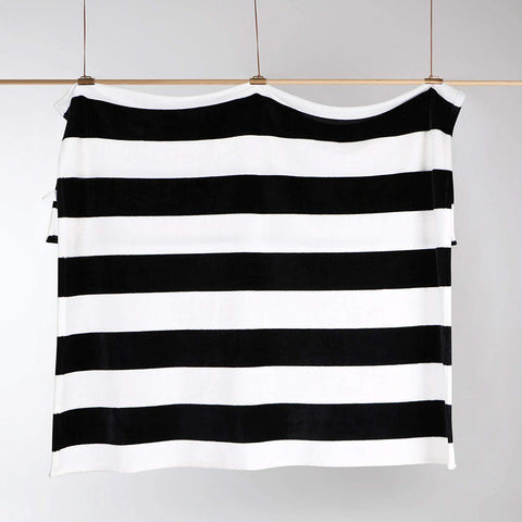 NTBAY Flannel Throw Blankets Super Soft with Black and White Stripe - NTBAY