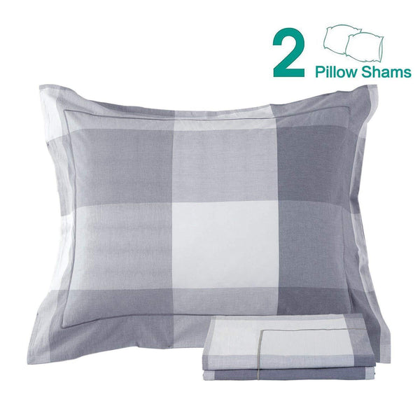 NTBAY 100% Washed Cotton Woven Plaid Pillow Shams Set of 2 - NTBAY