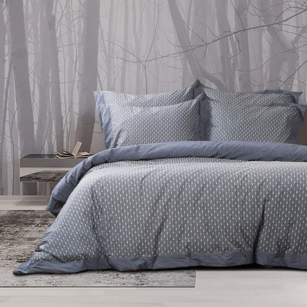 NTBAY Yarn Dyed 3 Pieces Duvet Cover Set, 100% Washed Cotton Jacquard Bedding Set, Vintage Style, Grey - NTBAY