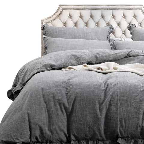 NTBAY 3 Pieces Solid Color Linen Duvet Cover Set with Exquisite Ruffles Design