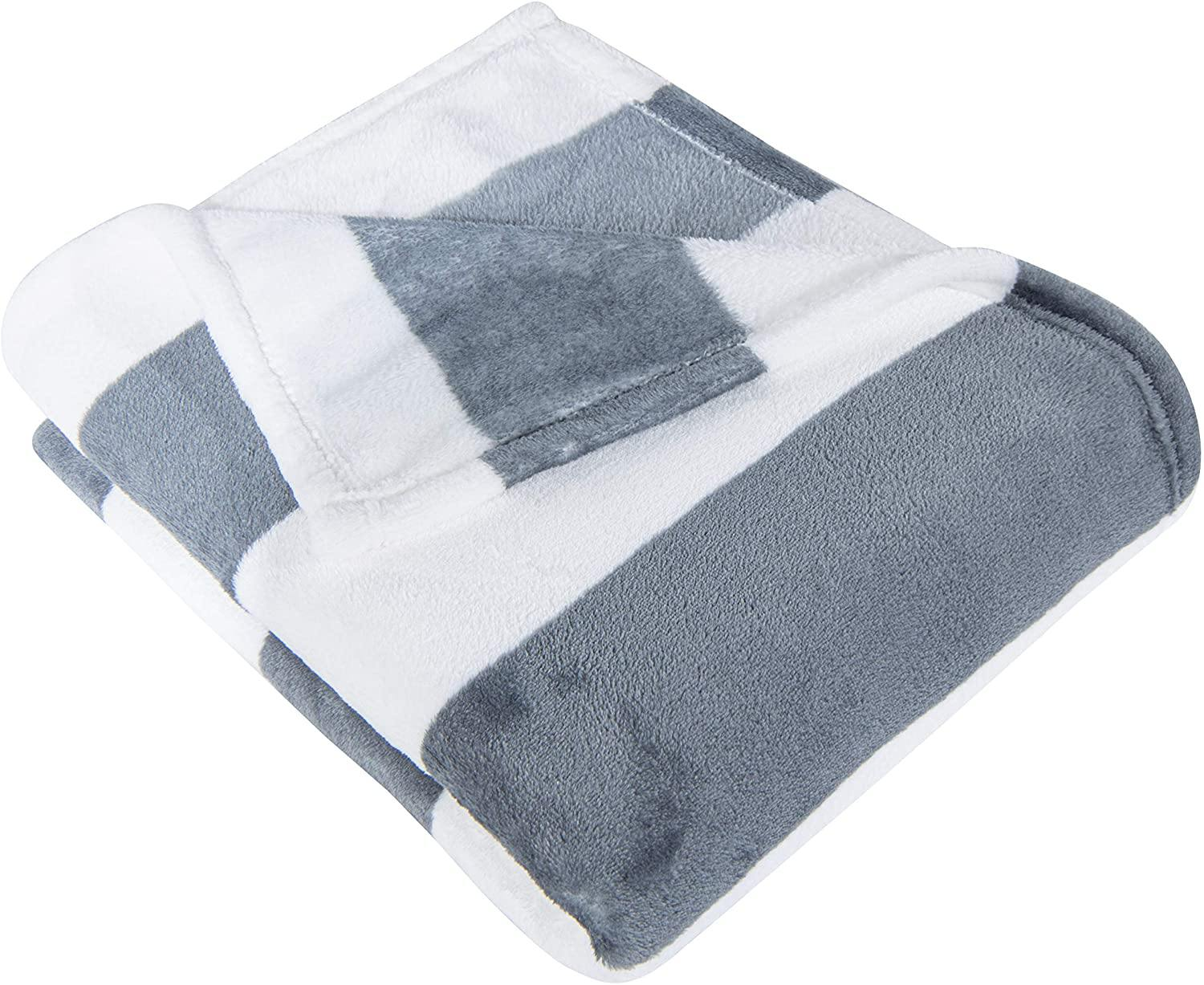 NTBAY Flannel Blanket, Super Soft with Grey and White Striped Printed Bed Blanket