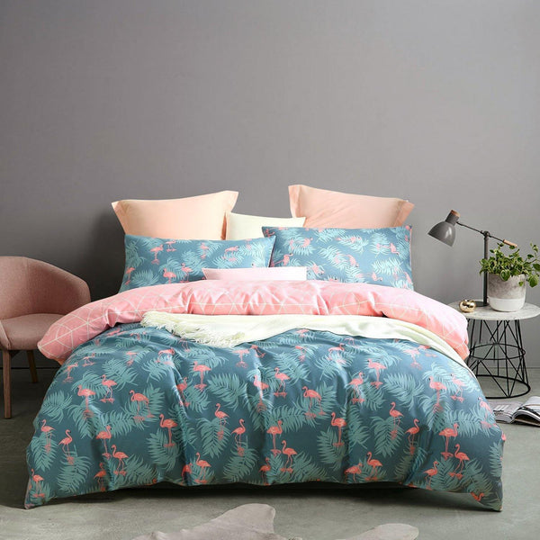 NTBAY 3 Pieces Duvet Cover Set 100% Cotton Sateen Printed Reversible Design,  Dark Slate Grey - NTBAY