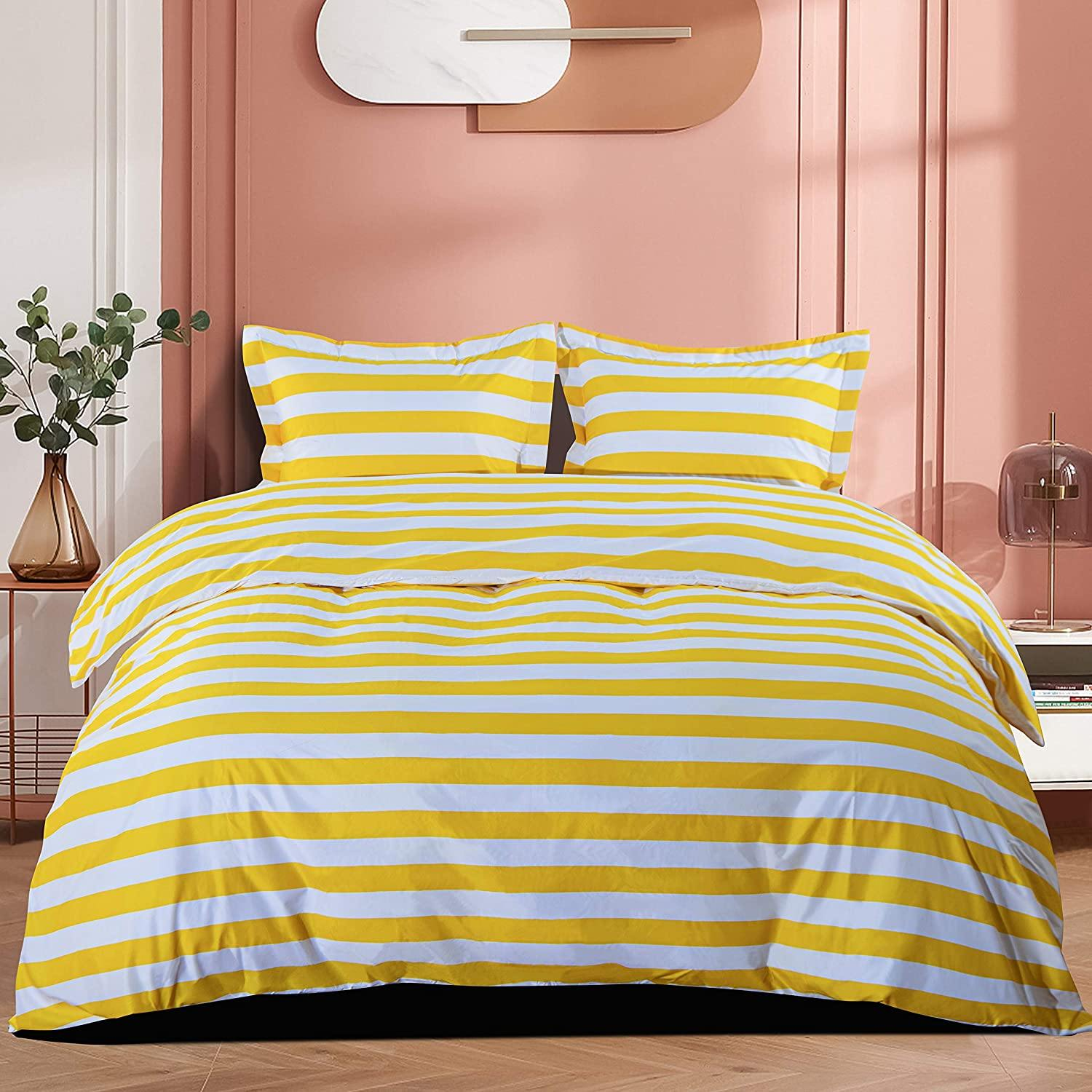 NTBAY Yellow and White Striped 3 Pieces Microfiber Queen Duvet Cover Set