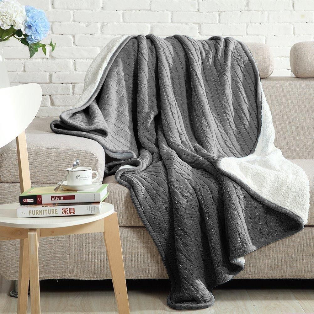 NTBAY All Seasons Collection 100% Cotton Super Warm Throw Blanket - NTBAY