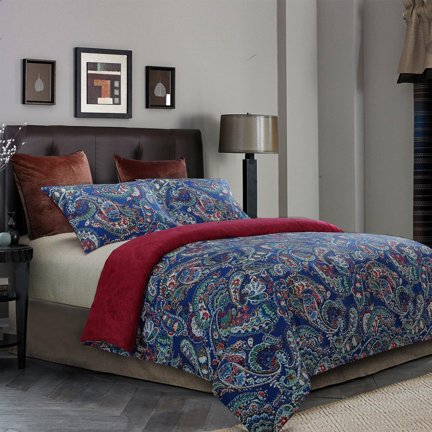NTBAY 3 Pieces Duvet Cover Set Brushed Microfiber Printed Pattern Reversible Design - NTBAY