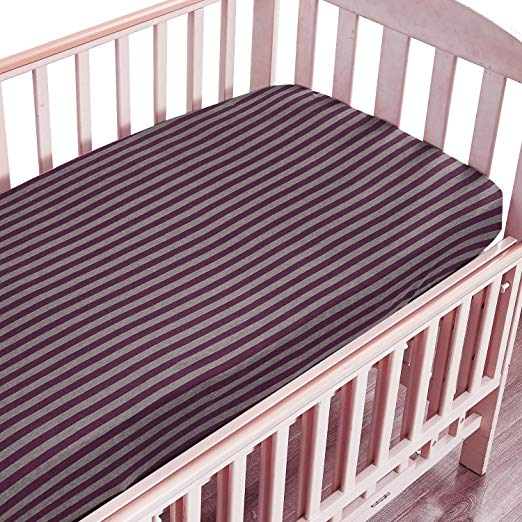 NTBAY Toddler Fitted Sheet 100% Organic Cotton with Striped Design - NTBAY