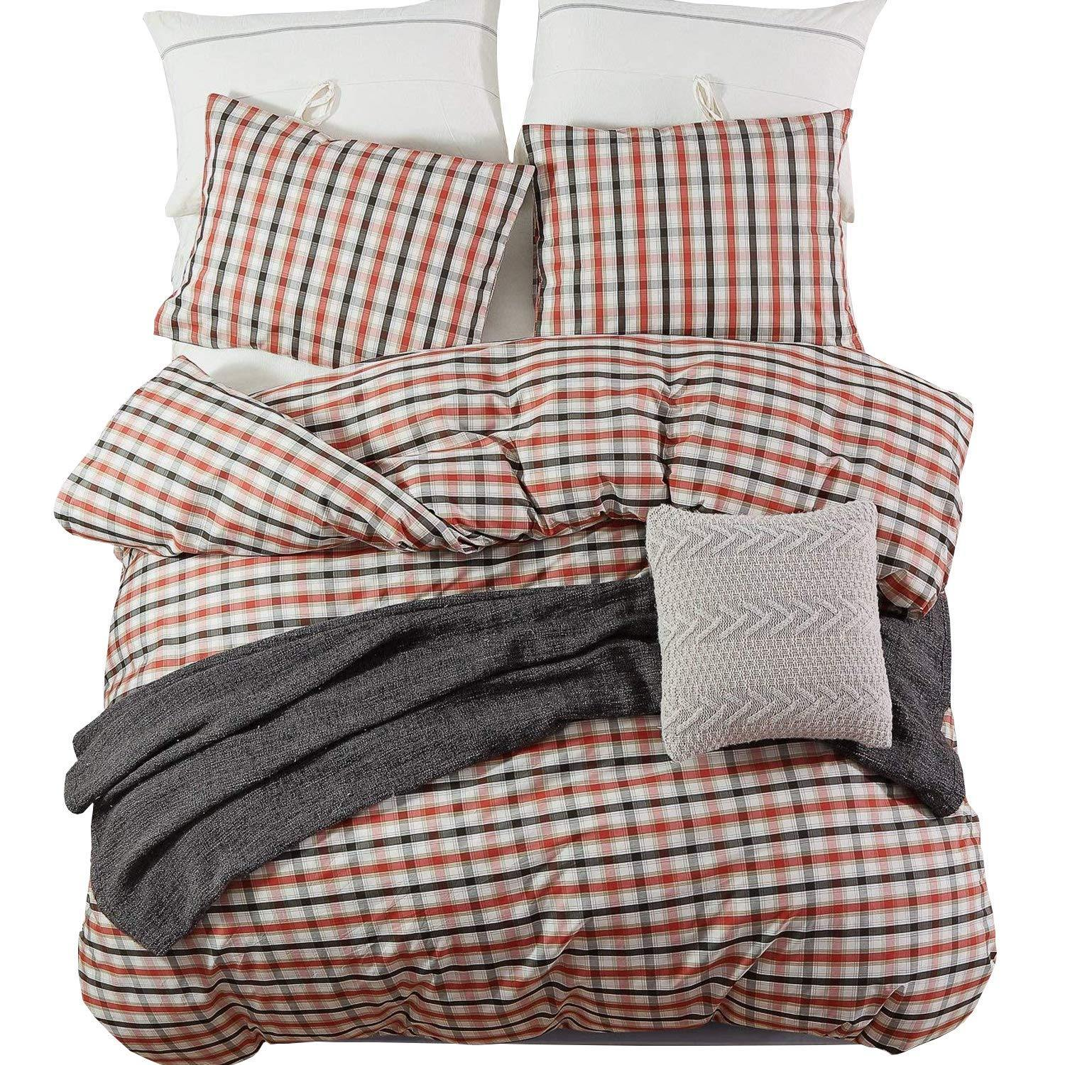 NTBAY 3 Pieces Duvet Cover Set 100% Cotton Warm Woven Plaid Printed Design - NTBAY