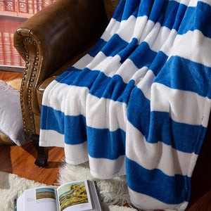 NTBAY Flannel Throw Blankets, Super Soft with Blue and White Striped Printed Bed Blanket