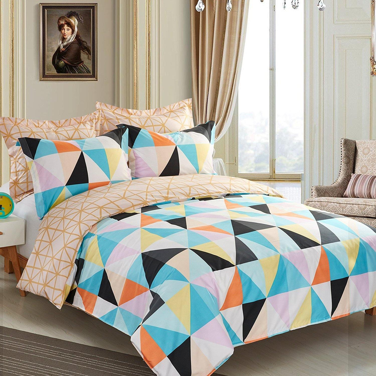 NTBAY 5 Pieces Reversible Fashionable and Simple Geometric Pattern Printed Microfiber Duvet Cover Set with Hidden Zipper - NTBAY