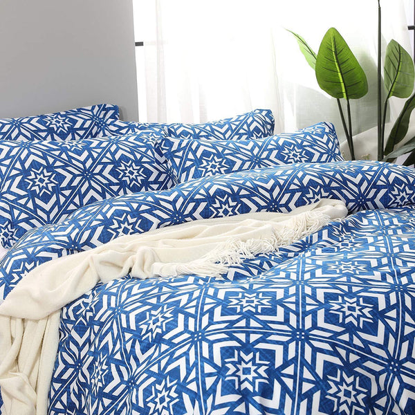 NTBAY 3 Pieces Duvet Cover Set, Brushed Microfiber, Geometric Patterns Printed - NTBAY