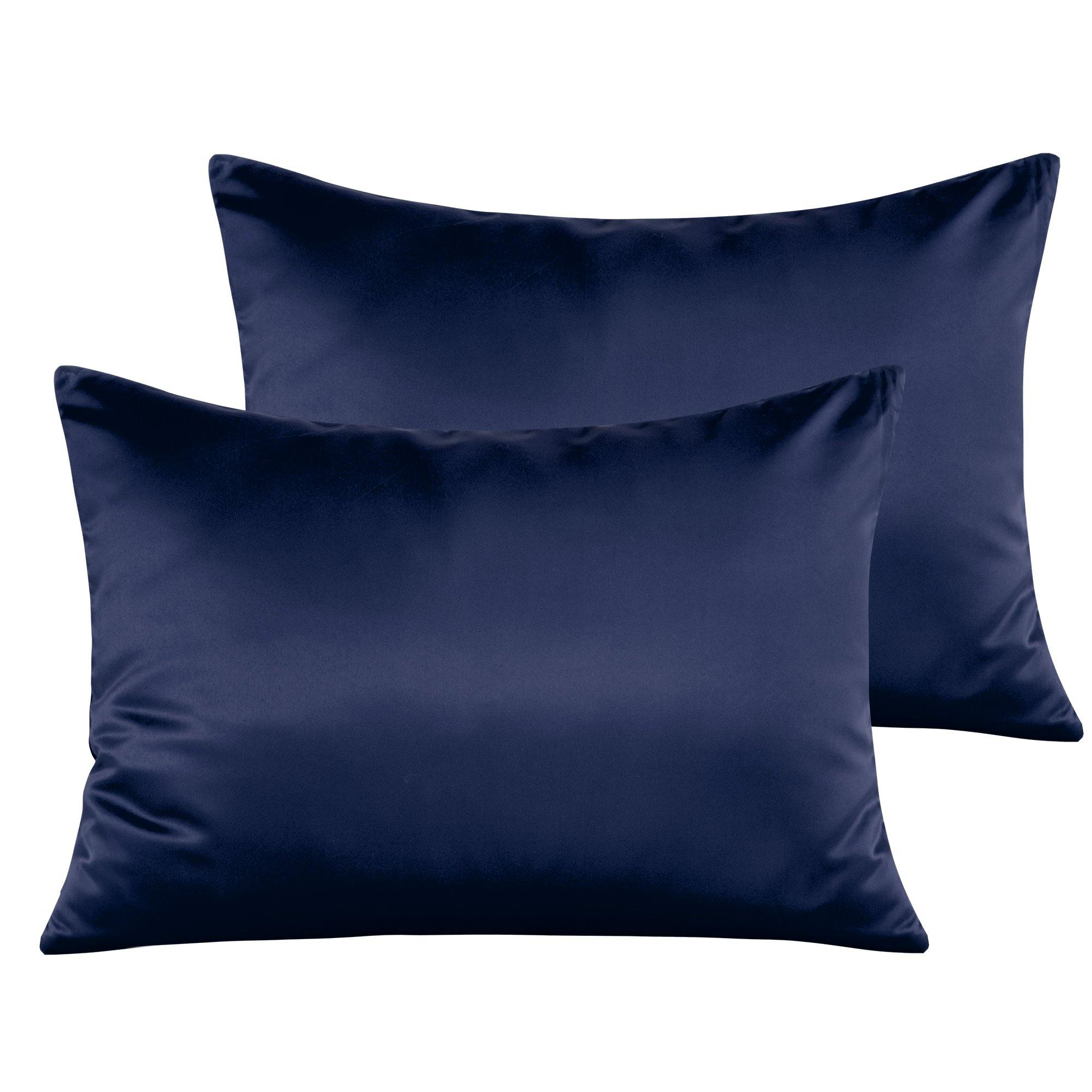Zipper Closure Super Soft and Luxury Travel Pillow Covers Set of 2 13x 18 Navy Blue NTBAY Satin Toddler Pillowcases