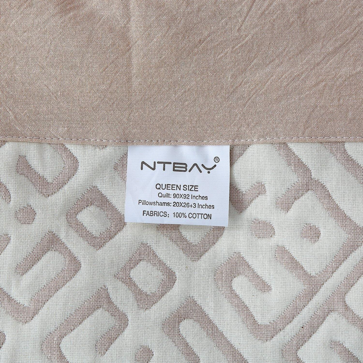 NTBAY 3 Layers Washed Cotton Woven Jacquard Coverlet, Chair Cover, Throw Blankets for Bed Couch - NTBAY