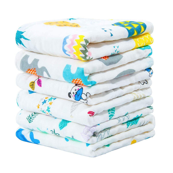 NTBAY 6 Pack Baby Muslin Washcloths, 6 Layers Soft and Breathable Shower Natural Cotton Newborn Baby Face Towel with Animals Printed Design