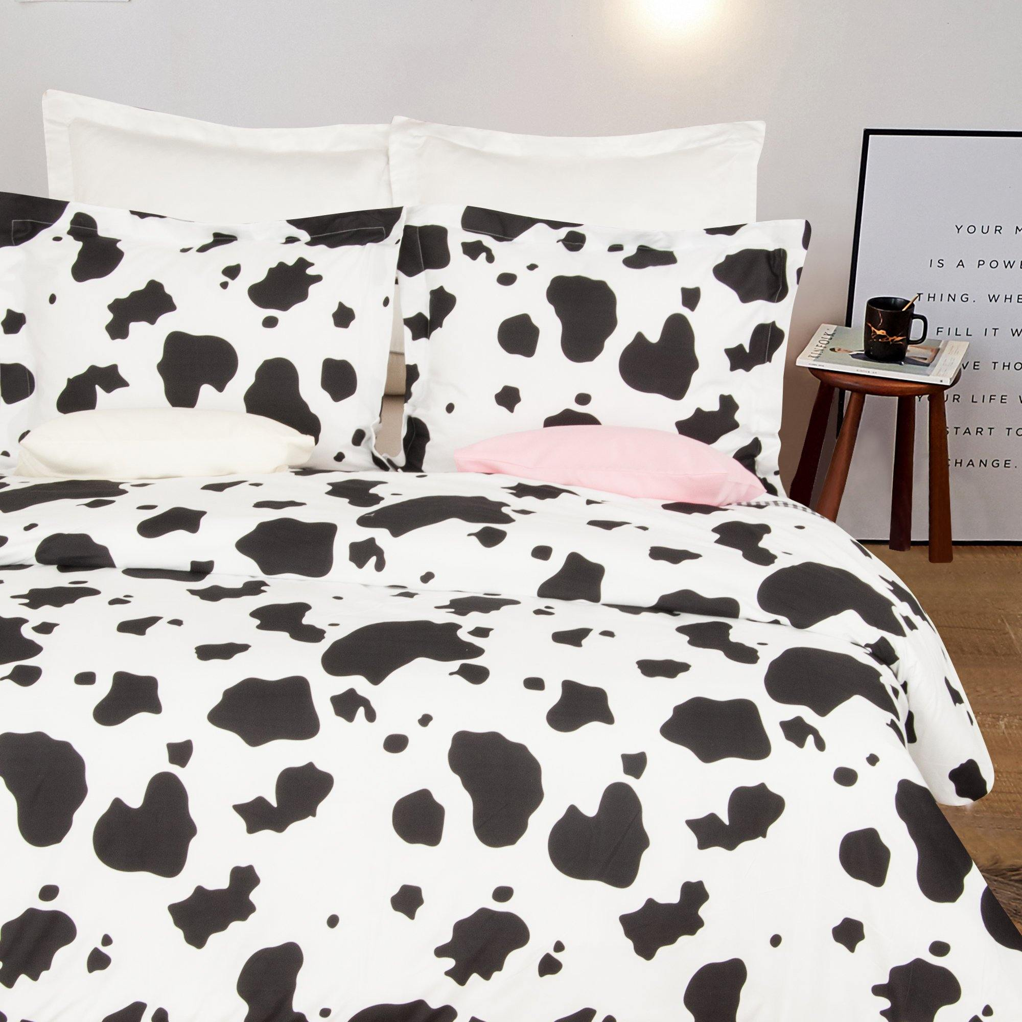 Microfiber Black And White Bedding Duvet Cover Set Ntbay Pattern Spotted Cow