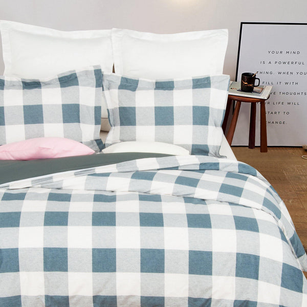 NTBAY Microfiber Duvet Cover Set Blue and White Grid