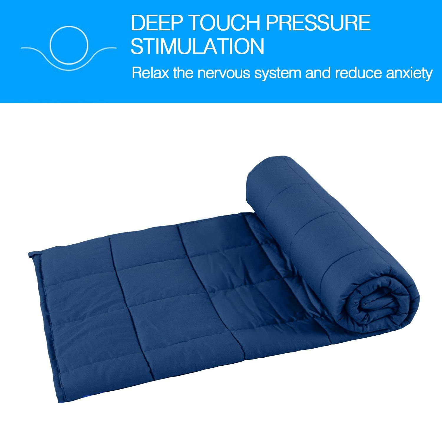 NTBAY Cotton Weighted Blanket Navy Blue 5lbs, 7lbs, 12lbs,15lbs,25lbs