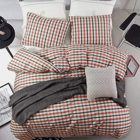 3 Pieces Duvet Cover Set 100% Cotton Super Soft Warm Woven Plaid Printed Design with Hidden Zipper, Red Black and White