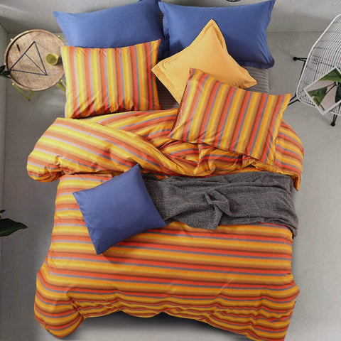 3 Pieces Duvet Cover Set 100% Cotton Super Soft Warm Woven Plaid Printed Design with Hidden Zipper, Yellow and Red