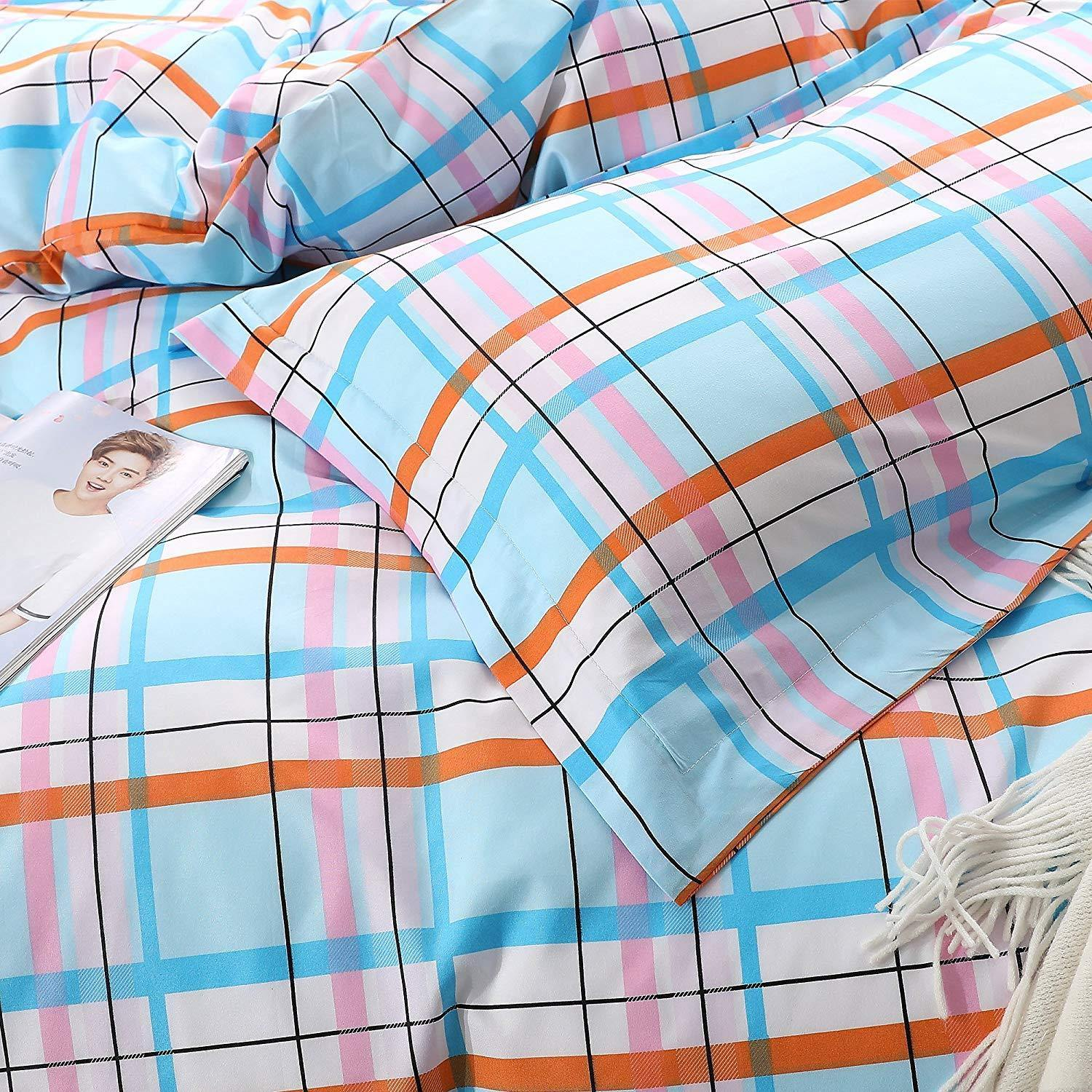 NTBAY 3 Pieces Duvet Cover Set, Brushed Microfiber, Plaid Patterns Printed, Bedding, Blue and Pink - NTBAY